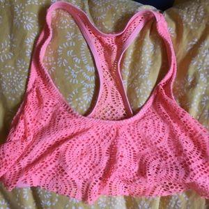 Crochet coral racer back bikini top